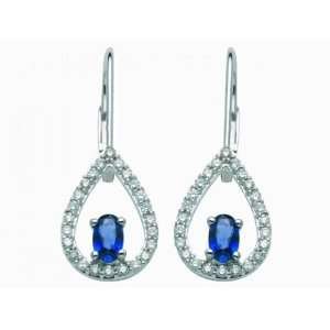 18ct White Gold Sapphire & Diamond Earrings Jewelry