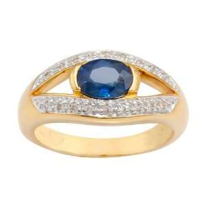 18ct Yellow Gold Sapphire & Diamond Single Stone Ring