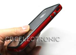 Black Red Bumper Frame Case Skin Cover for iPhone 4 4G