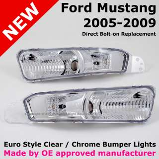 Ford Mustang 05 09 Euro Style Clear Chrome Front Bumper Turn Signal