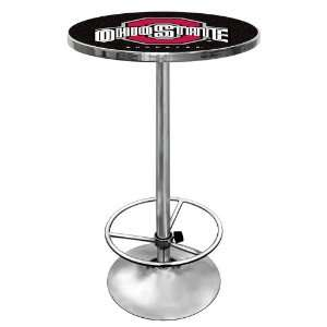 Ohio State University Logo Padded Bar Stool(Black Pub Table), Black