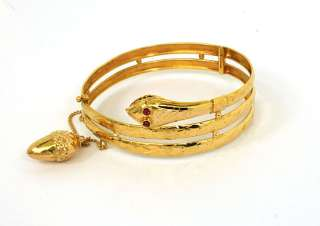 GORGEOUS ESTATE 22K GOLD LADIES TRIPLE SNAKE BANGLE BRACELET