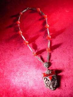 Antique ART DECO 1920s CINNABAR GLASS Silver Tone BOHEMIAN BEADED