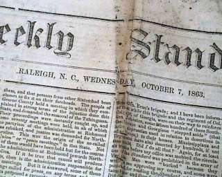 1863 CONFEDERATE Civil War Newspaper BATTLE OF GETTYSBURG Robert E