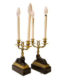 Pair French Empire Style Candelabra Lamps with Lions