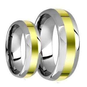 (2) Ring Set 8mm Mens & 6mm Ladies 14k Two Tone Gold