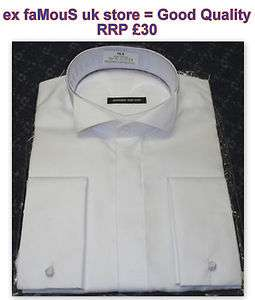 Mens WING COLLAR Dress Shirt White NON IRON Pure Cotton Double French