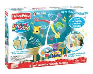 Fisher Price Brilliant Basics 2 in 1 Activity Friends Mobile w/3 fun