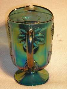 Vintage Carnival Glass Iridescent Blue Green Harvest Grapes & Leaf