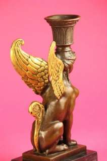 Original ~Milo~Sphinx Candle Holder Bronze Sculpture NR