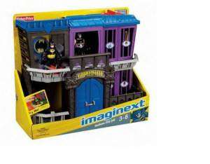 opened ~ Gotham City Jail with Batman and evil villian Bane figures