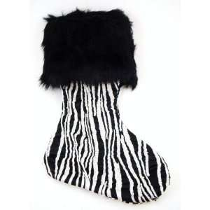 Zebra Print Beaded Faux Fur Holiday Christmas Stocking