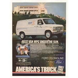 1982 Ford Econoline Best Van MPG Under the Sun Print Ad