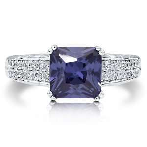 Princess Lavender Blue Cubic Zirconia Sterling Silver Solitaire