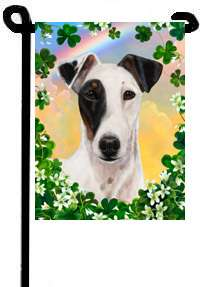 SMOOTH FOX TERRIER TRICOLOR HALF MASK GARDEN FLAG/11x15