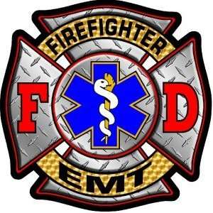 Firefighter Decal/Sticker   4x4 Diamond Plate Firefighter EMT