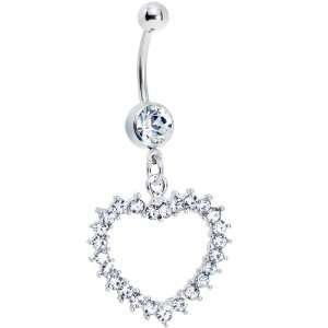Crystalline Gem Heart Line Belly Ring Body Candy Jewelry