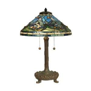 Tiffany TT10216 Tiffany Table Lamp, Antique Verde and Art Glass Shade