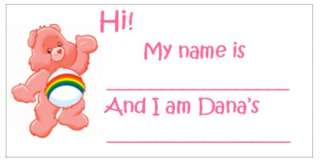 Care Bear Bears Baby Shower Guests Name Tags