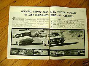 1962 Plymouth Chevrolet Ford Ad U S Testing Report