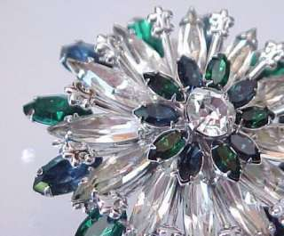 Vintage Blue Green & Crystal Rhinestone Flower Brooch