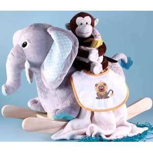 Baby Boy Jungle Elephant Rocker Gift Set Baby