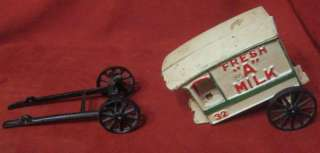 Vintage Cast Iron Horse Fresh A Milk 32 Carriage Cart Wagon Truck