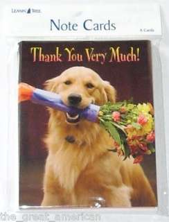 Leanin Tree Note Cards   Thank You Very Much Dog With Flowers Made