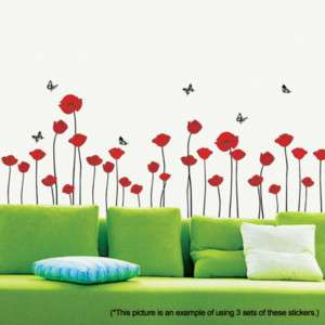Red Poppy Set Mural Art Flower Decor Wall Sticker Decal