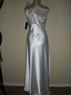 NWT Adrianna Papell One Shoulder Rosette Charmeuse White Gown 10 $200