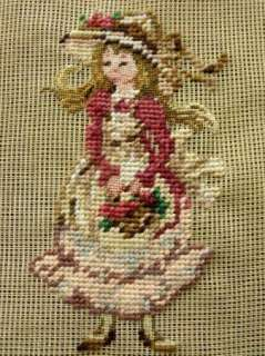 12 PREWORKED Needlepoint Canvas~Sweet Girl Pink Dress