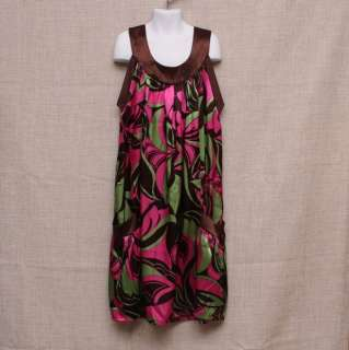 Boutique Kitty Kat Kid Girl Brown Summer Floral Dress size 10 12 Child