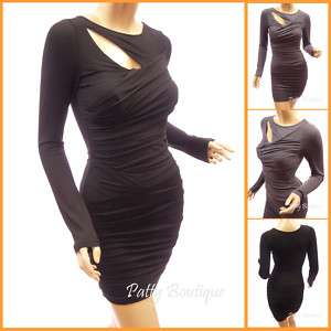 Stunning Ruched Long Sleeve Clubwear Party Mini Dress
