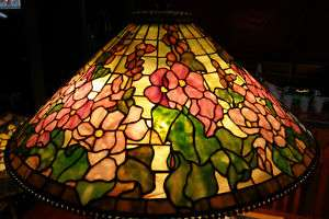 Stained Art Glass Lamp Shade Hollyhock 28 Wide Beaded Edge