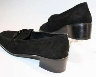 Stuart Weitzman Black Suede Loafers Shoes 9 M Spain EUC