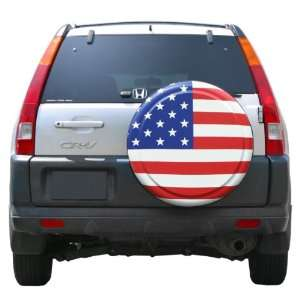 27 American Flag Spare Tire Cover   Molded Plastic Face   Boomerang
