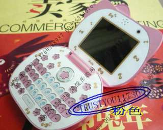 PINK CUTE HELLO KITTY FLIP CELL PHONE MOBILE 2 SIM CAMERA  GSM