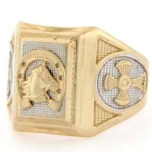 10k Solid Two Tone Gold Lucky Horseshoe Cross Mens Ring Jewelry