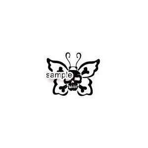 BUTTERFLY CROSSBONES SKULL WHITE VINYL DECAL STICKER