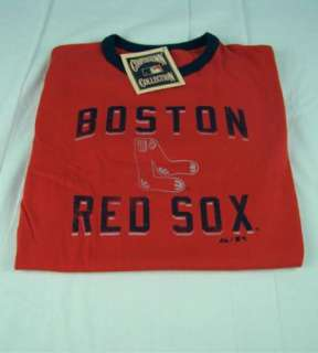 Mens Majestic MLB Boston Red Sox Ringer T Shirt Red any size S M L XL