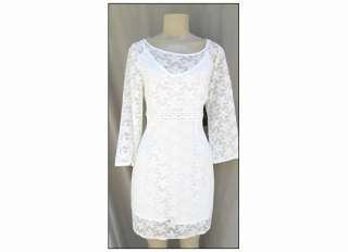 NEW Laundry Shelli Segal Warm White Lace Overlay Shift Mini Dress