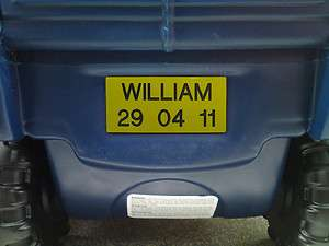 Little Tikes Cozy Truck Custom Engraved Number Plate