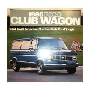 1986 FORD ECONOLINE CLUB WAGON Sales Brochure Automotive