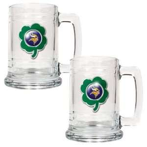 NFL Minnesota Vikings St. Patricks Day 2pc Glass Tankard
