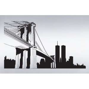 Vinyl Wall Art Decal Sticker NYC Brooklyn Bridge World Trade Center
