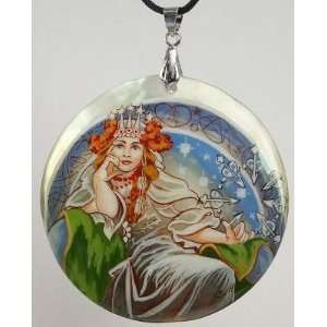 Mother of Pearl Russian Hand Painted Pendant (#0757)Art Nouveau style