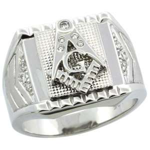 Sterling Silver Mens MASONIC Ring w/CZ Stones & Frosted Side Accents