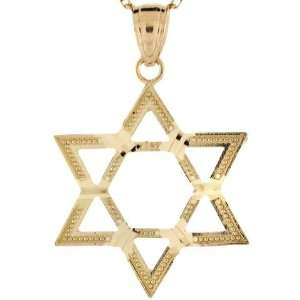 10k Real Gold Star of David Diamond Cut Charm Pendant
