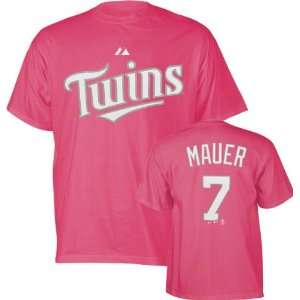 Joe Mauer Girls 7 16 Raspberry Pink Name and Number Minnesota Twins T