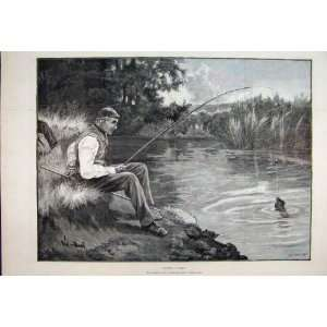 1890 Piscator Puzzled Man Fishing Net River Fine Art
